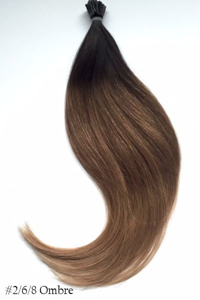 Dark Brown To Light Brown I Tip Hair Extensions 22 Inches Virgin Remy