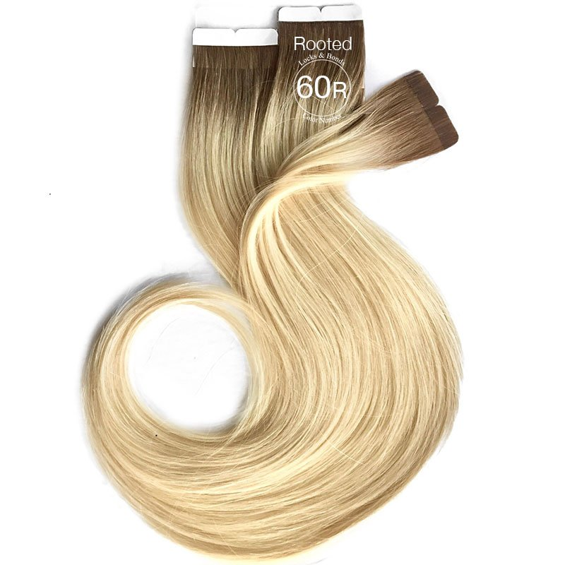 Vanilla Creme Blonde W Roots Virgin Hair Tape Extensions 14 Inches